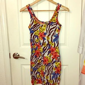 Mini dress with Floral and Zebra print